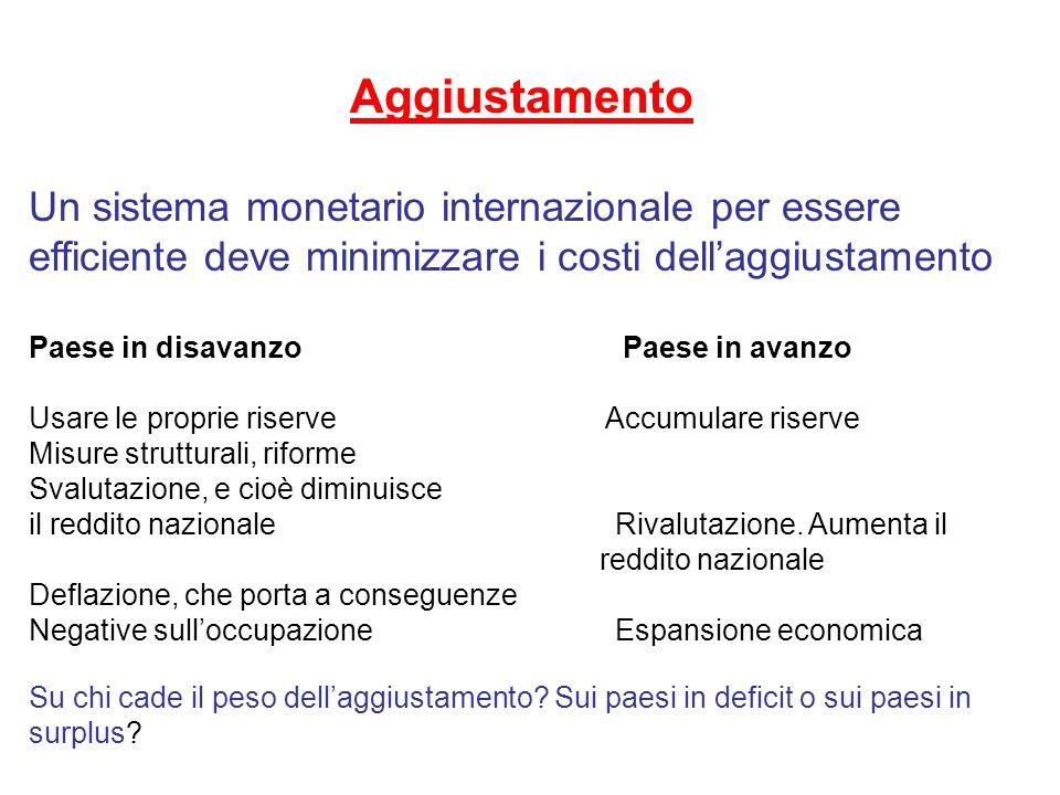 Aggiustamento Un sistema monetario internazionale per essere efficiente deve minimizzare i costi dellaggiustamento Paese in disavanzo Paese in avanzo