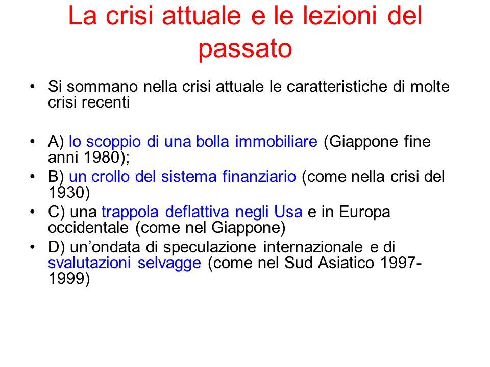 La crisi attuale e le lezioni del passato Si sommano nella crisi attuale le caratteristiche di molte crisi recenti A) lo scoppio di una bolla immobili