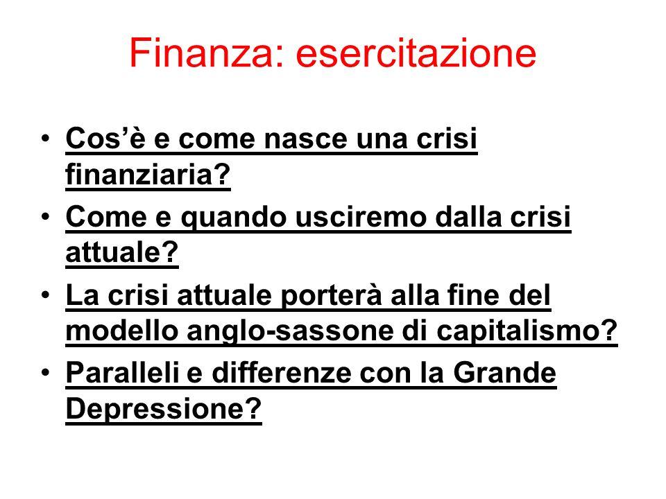 Finanza: esercitazione Cosè e come nasce una crisi finanziaria? Come e quando usciremo dalla crisi attuale? La crisi attuale porterà alla fine del mod