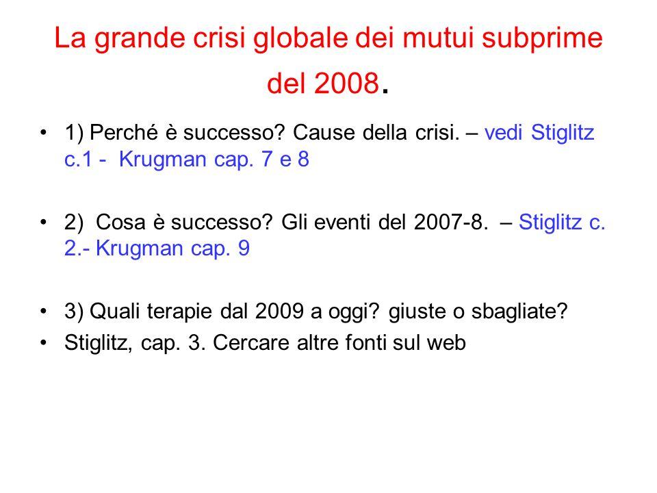 La grande crisi globale dei mutui subprime del 2008. 1) Perché è successo? Cause della crisi. – vedi Stiglitz c.1 - Krugman cap. 7 e 8 2) Cosa è succe