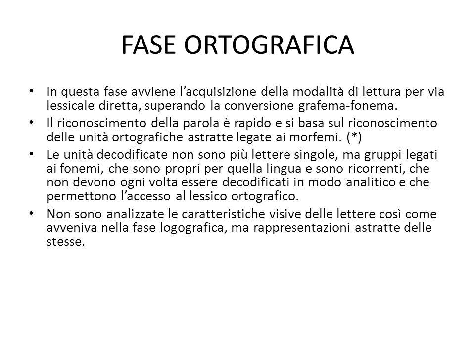 FASE ORTOGRAFICA In questa fase avviene lacquisizione della modalità di lettura per via lessicale diretta, superando la conversione grafema-fonema.