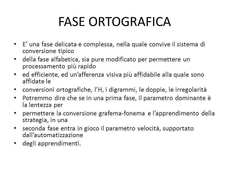 FASE ORTOGRAFICA E una fase delicata e complessa, nella quale convive il sistema di conversione tipico della fase alfabetica, sia pure modificato per