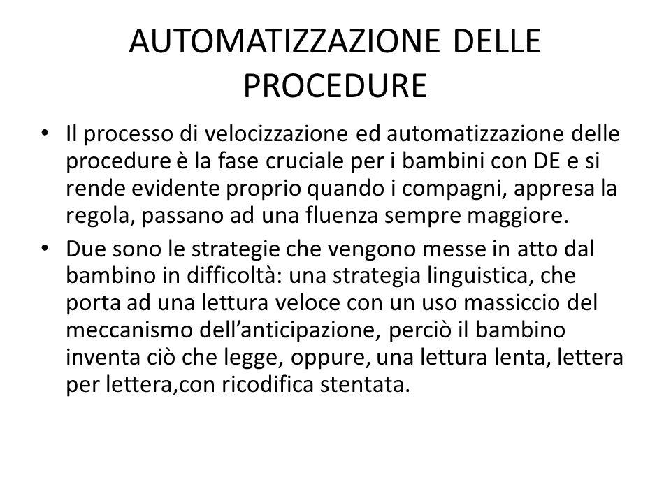 AUTOMATIZZAZIONE DELLE PROCEDURE Il processo di velocizzazione ed automatizzazione delle procedure è la fase cruciale per i bambini con DE e si rende