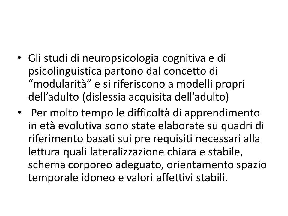 Gli studi di neuropsicologia cognitiva e di psicolinguistica partono dal concetto di modularità e si riferiscono a modelli propri delladulto (dislessi