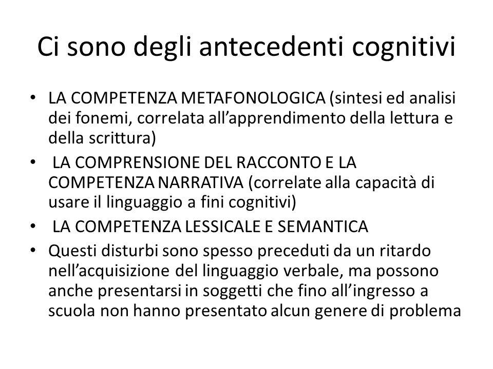 Ci sono degli antecedenti cognitivi LA COMPETENZA METAFONOLOGICA (sintesi ed analisi dei fonemi, correlata allapprendimento della lettura e della scrittura) LA COMPRENSIONE DEL RACCONTO E LA COMPETENZA NARRATIVA (correlate alla capacità di usare il linguaggio a fini cognitivi) LA COMPETENZA LESSICALE E SEMANTICA Questi disturbi sono spesso preceduti da un ritardo nellacquisizione del linguaggio verbale, ma possono anche presentarsi in soggetti che fino allingresso a scuola non hanno presentato alcun genere di problema