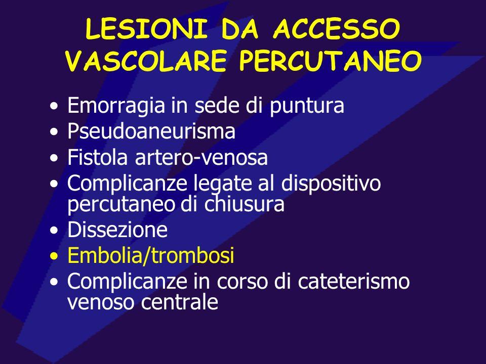 LESIONI DA ACCESSO VASCOLARE PERCUTANEO Emorragia in sede di puntura Pseudoaneurisma Fistola artero-venosa Complicanze legate al dispositivo percutane