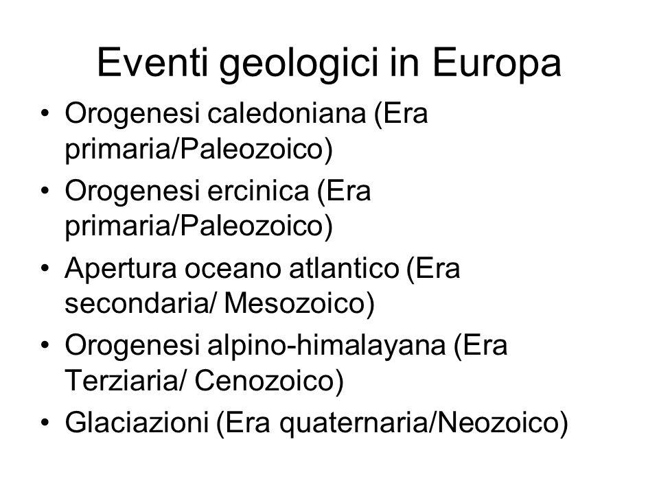 Eventi geologici in Europa Orogenesi caledoniana (Era primaria/Paleozoico) Orogenesi ercinica (Era primaria/Paleozoico) Apertura oceano atlantico (Era secondaria/ Mesozoico) Orogenesi alpino-himalayana (Era Terziaria/ Cenozoico) Glaciazioni (Era quaternaria/Neozoico)
