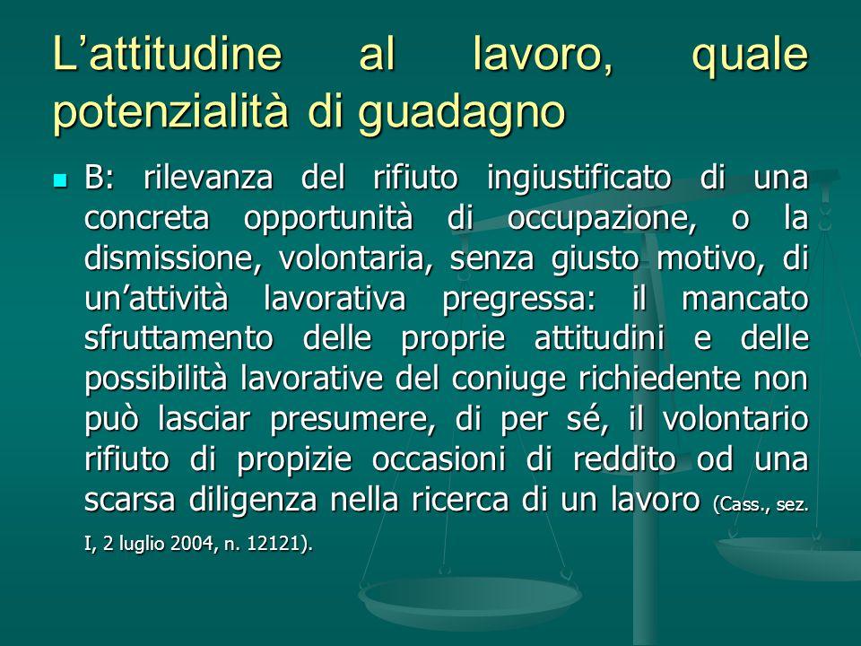 Lattitudine al lavoro, quale potenzialità di guadagno B: rilevanza del rifiuto ingiustificato di una concreta opportunità di occupazione, o la dismiss