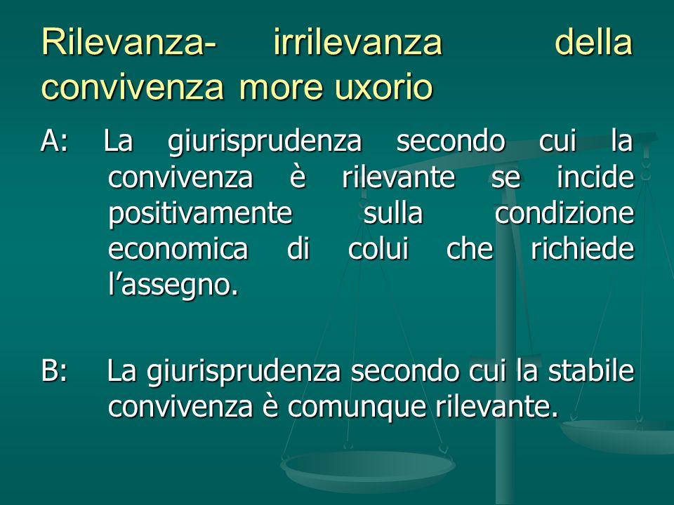 Rilevanza- irrilevanza della convivenza more uxorio A: La giurisprudenza secondo cui la convivenza è rilevante se incide positivamente sulla condizion