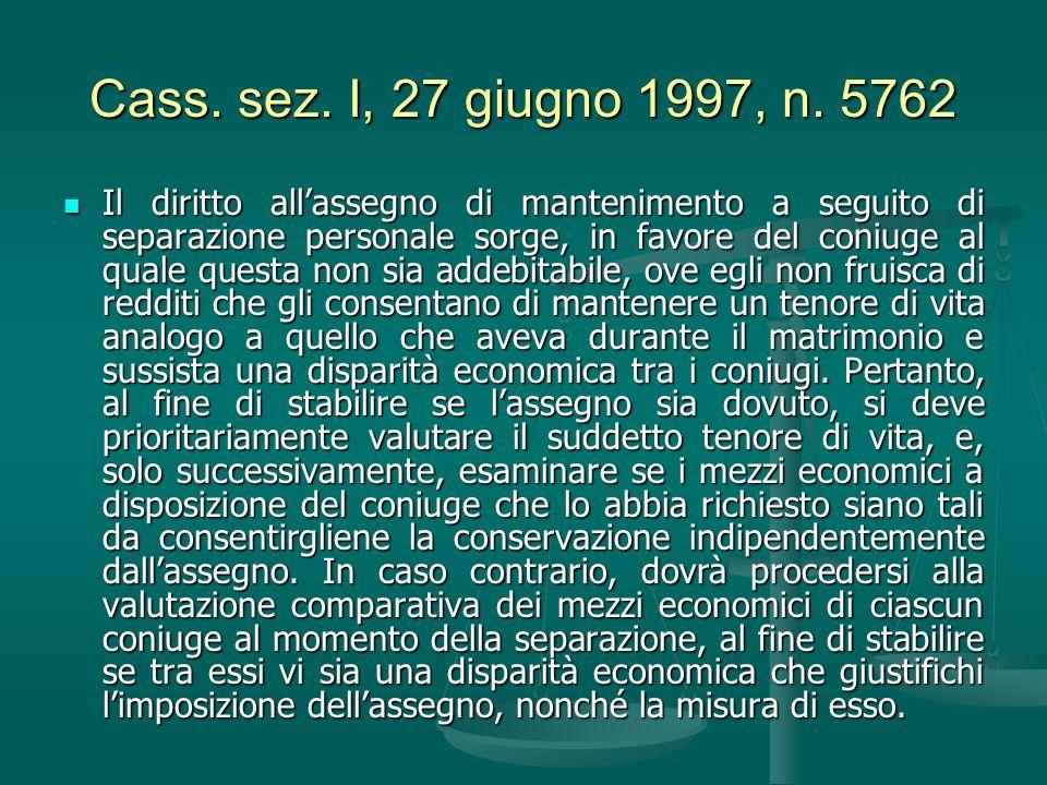 Cass. sez. I, 27 giugno 1997, n. 5762 Il diritto allassegno di mantenimento a seguito di separazione personale sorge, in favore del coniuge al quale q