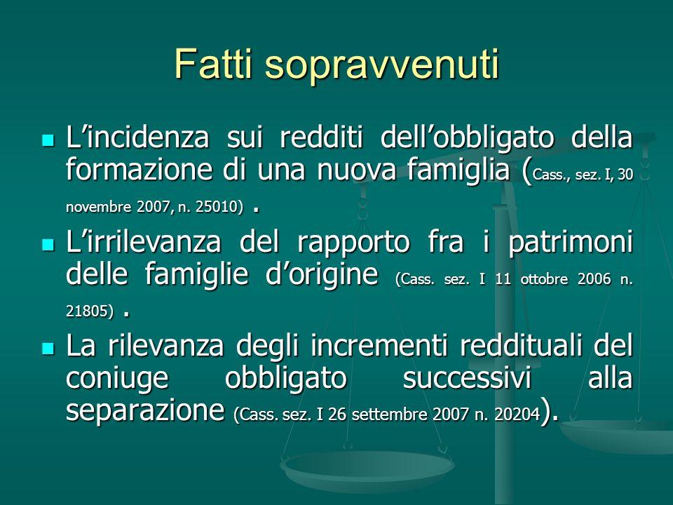 Fatti sopravvenuti Lincidenza sui redditi dellobbligato della formazione di una nuova famiglia ( Cass., sez. I, 30 novembre 2007, n. 25010). Lincidenz