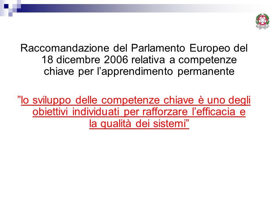 Raccomandazione del Parlamento Europeo del 18 dicembre 2006 relativa a competenze chiave per lapprendimento permanente lo sviluppo delle competenze ch