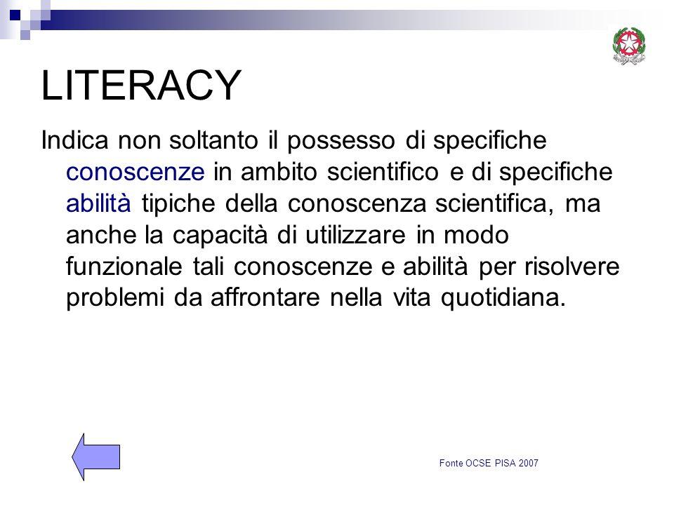 LITERACY Indica non soltanto il possesso di specifiche conoscenze in ambito scientifico e di specifiche abilità tipiche della conoscenza scientifica,