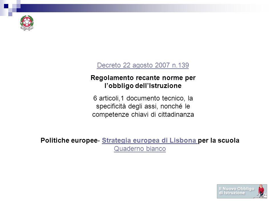 Decreto 22 agosto 2007 n.139 Regolamento recante norme per lobbligo dellIstruzione 6 articoli,1 documento tecnico, la specificità degli assi, nonché l