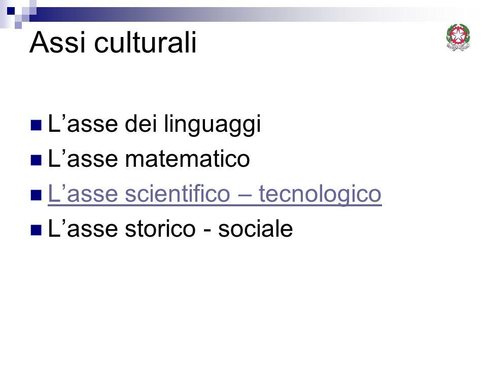 Assi culturali Lasse dei linguaggi Lasse matematico Lasse scientifico – tecnologico Lasse storico - sociale