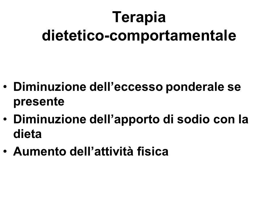 Terapia dietetico-comportamentale Diminuzione delleccesso ponderale se presente Diminuzione dellapporto di sodio con la dieta Aumento dellattività fis