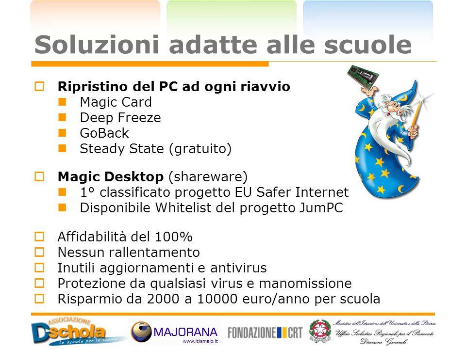 Soluzioni adatte alle scuole Ripristino del PC ad ogni riavvio Magic Card Deep Freeze GoBack Steady State (gratuito) Magic Desktop (shareware) 1° clas