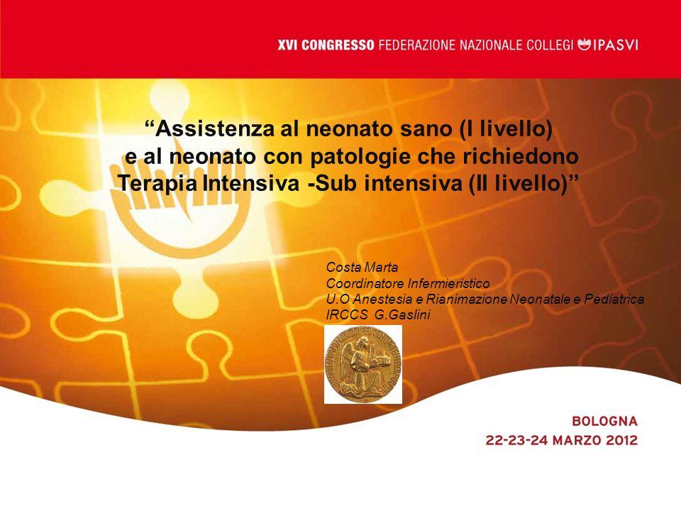 Costa Marta Coordinatore Infermieristico U.O Anestesia e Rianimazione Neonatale e Pediatrica IRCCS G.Gaslini Assistenza al neonato sano (I livello) e