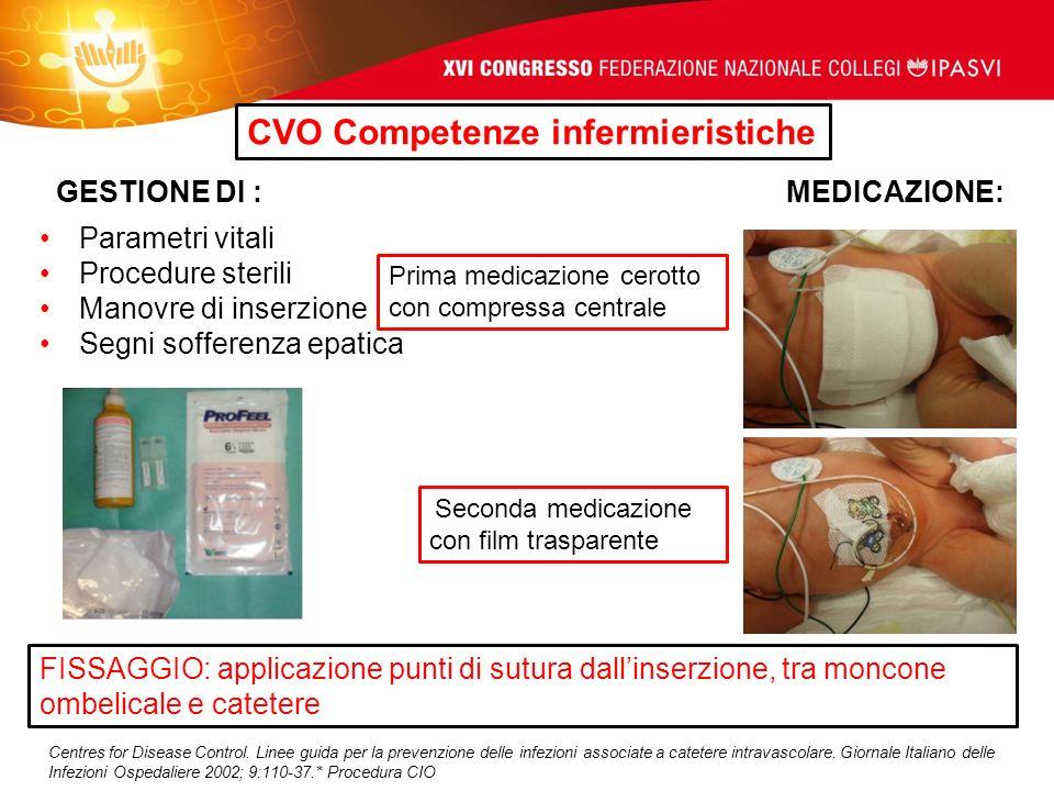 CVO Competenze infermieristiche GESTIONE DI : MEDICAZIONE: Parametri vitali Procedure sterili Manovre di inserzione Segni sofferenza epatica Prima med