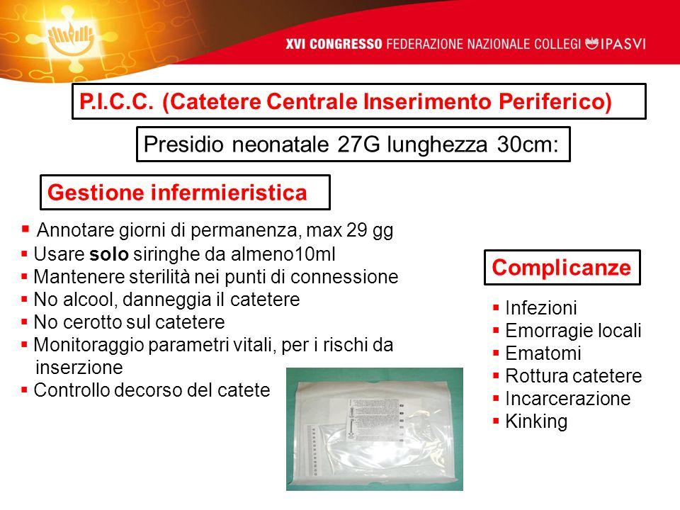 P.I.C.C. (Catetere Centrale Inserimento Periferico) Presidio neonatale 27G lunghezza 30cm: Complicanze Gestione infermieristica Infezioni Emorragie lo