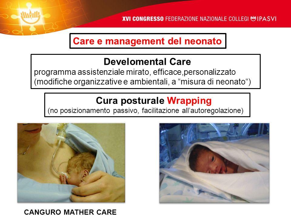 Care e management del neonato Develomental Care programma assistenziale mirato, efficace,personalizzato (modifiche organizzative e ambientali, a misur