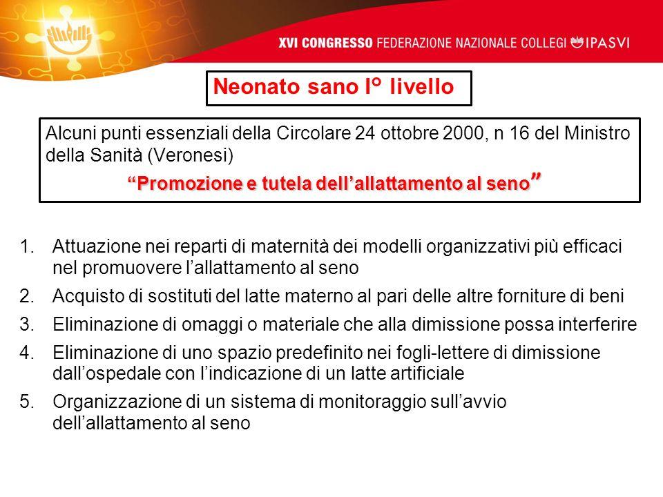Neonato sano I° livello Promozione e tutela dellallattamento al seno Alcuni punti essenziali della Circolare 24 ottobre 2000, n 16 del Ministro della
