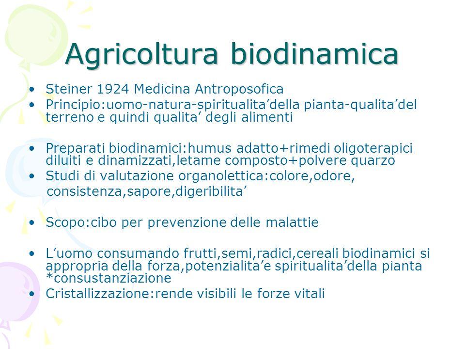 Agricoltura biodinamica Steiner 1924 Medicina Antroposofica Principio:uomo-natura-spiritualitadella pianta-qualitadel terreno e quindi qualita degli a