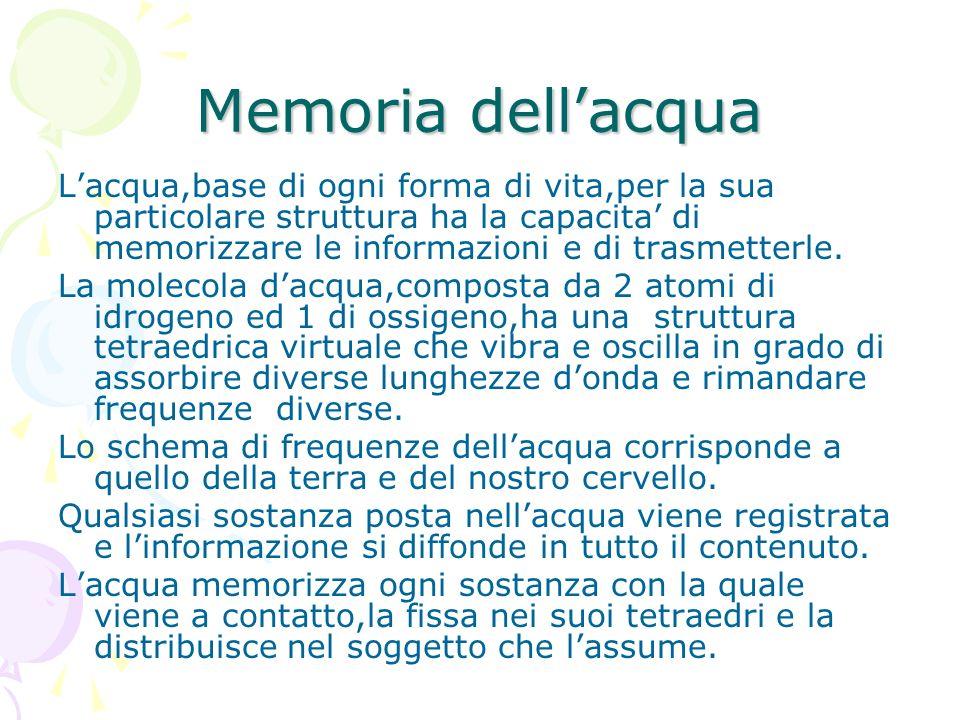Memoria dellacqua Lacqua,base di ogni forma di vita,per la sua particolare struttura ha la capacita di memorizzare le informazioni e di trasmetterle.
