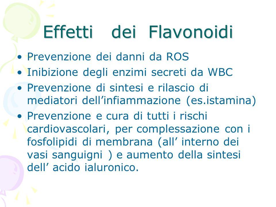 Effetti dei Flavonoidi Prevenzione dei danni da ROS Inibizione degli enzimi secreti da WBC Prevenzione di sintesi e rilascio di mediatori dellinfiamma