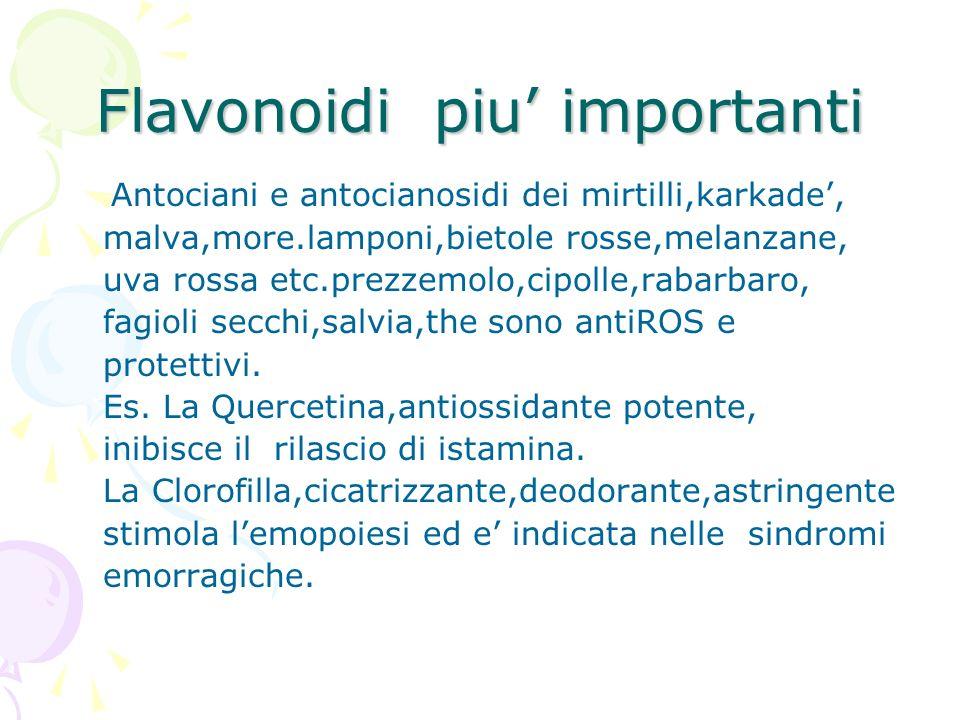 Flavonoidi piu importanti Antociani e antocianosidi dei mirtilli,karkade, malva,more.lamponi,bietole rosse,melanzane, uva rossa etc.prezzemolo,cipolle