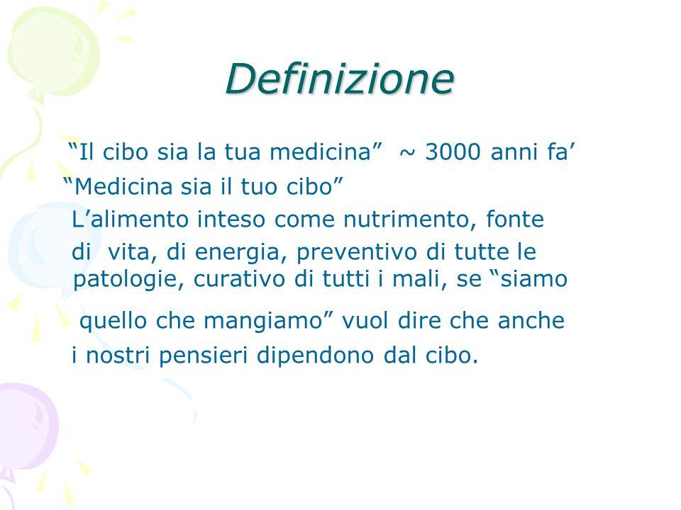 Definizione Il cibo sia la tua medicina ~ 3000 anni fa Medicina sia il tuo cibo Lalimento inteso come nutrimento, fonte di vita, di energia, preventiv