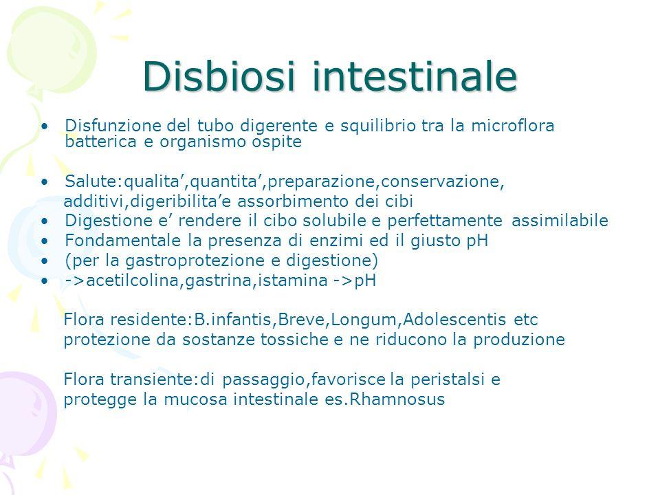 Disbiosi intestinale Disfunzione del tubo digerente e squilibrio tra la microflora batterica e organismo ospite Salute:qualita,quantita,preparazione,c