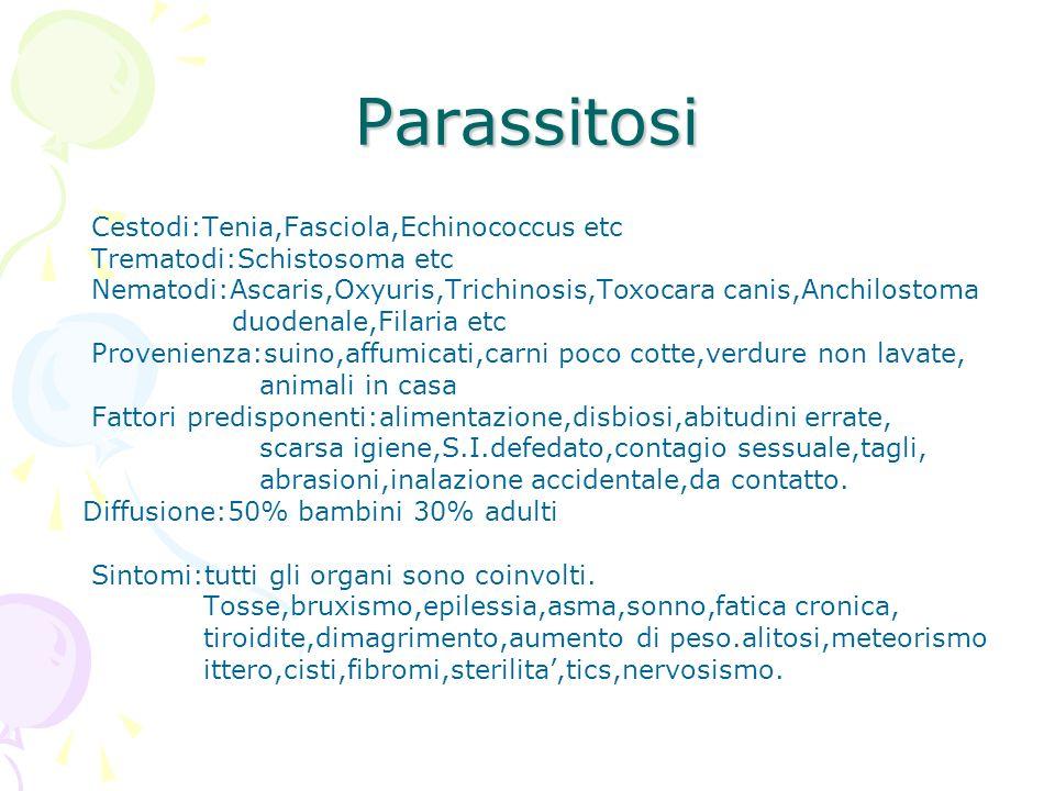 Parassitosi Cestodi:Tenia,Fasciola,Echinococcus etc Trematodi:Schistosoma etc Nematodi:Ascaris,Oxyuris,Trichinosis,Toxocara canis,Anchilostoma duodena