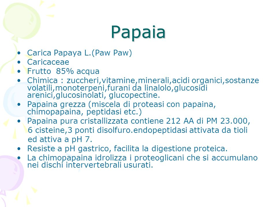 Papaia Carica Papaya L.(Paw Paw) Caricaceae Frutto 85% acqua Chimica : zuccheri,vitamine,minerali,acidi organici,sostanze volatili,monoterpeni,furani