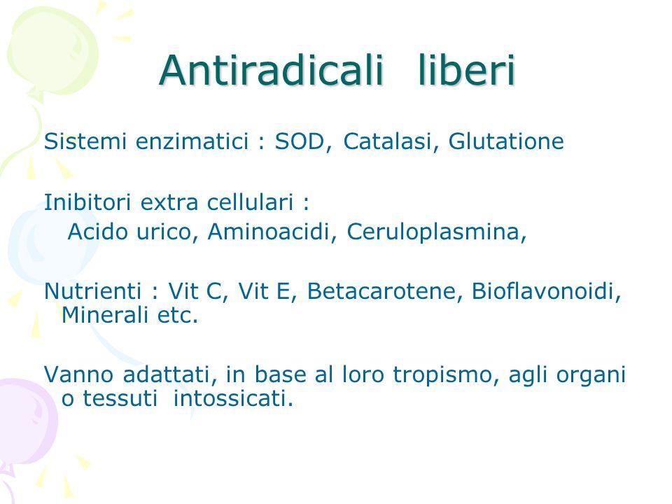 Antiradicali liberi Sistemi enzimatici : SOD, Catalasi, Glutatione Inibitori extra cellulari : Acido urico, Aminoacidi, Ceruloplasmina, Nutrienti : Vi