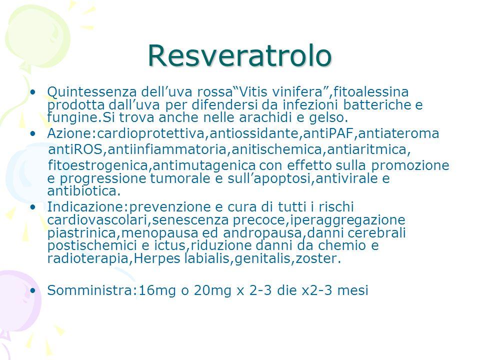 Resveratrolo Quintessenza delluva rossaVitis vinifera,fitoalessina prodotta dalluva per difendersi da infezioni batteriche e fungine.Si trova anche ne