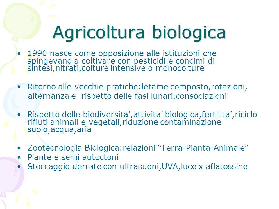 Agricoltura biologica 1990 nasce come opposizione alle istituzioni che spingevano a coltivare con pesticidi e concimi di sintesi,nitrati,colture inten