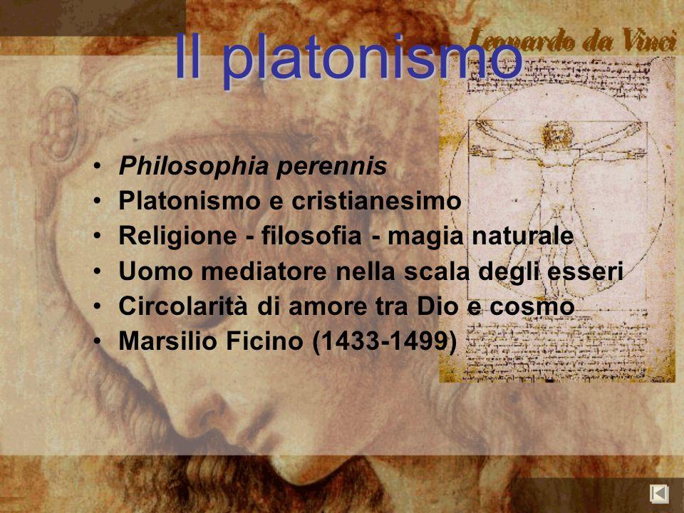 Il platonismo Philosophia perennis Platonismo e cristianesimo Religione - filosofia - magia naturale Uomo mediatore nella scala degli esseri Circolari