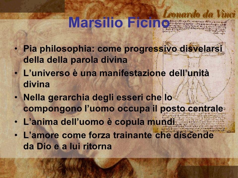 Marsilio Ficino Pia philosophia: come progressivo disvelarsi della della parola divina Luniverso è una manifestazione dellunità divina Nella gerarchia