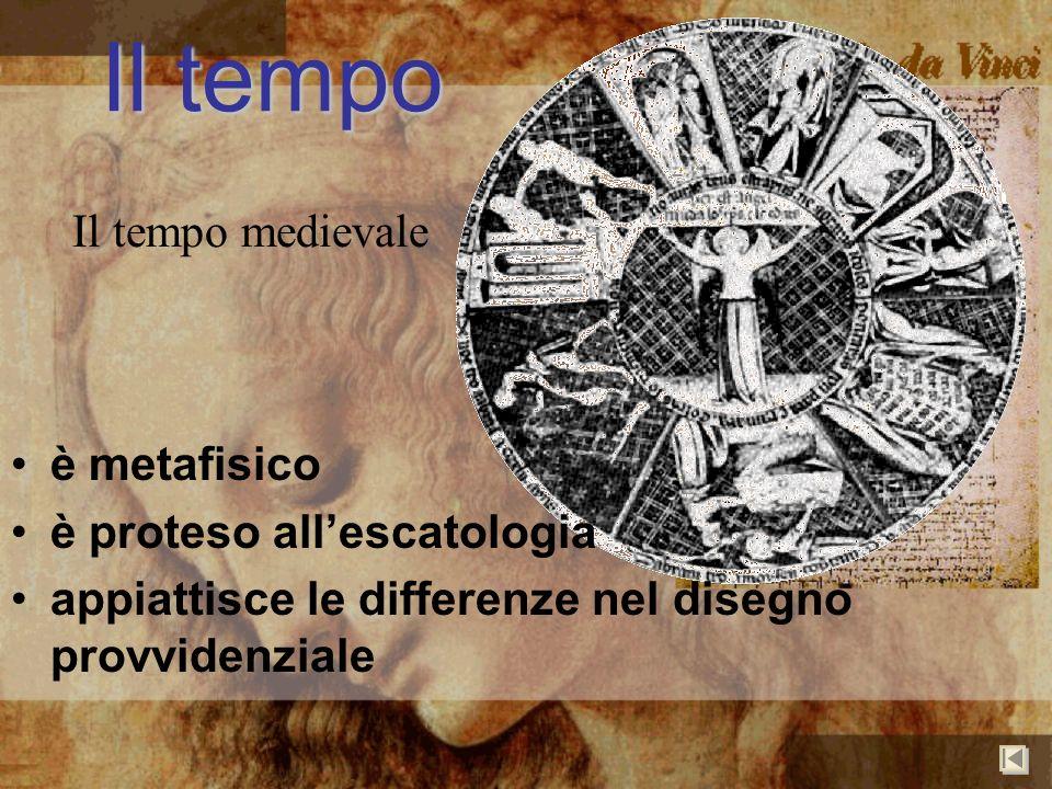 Il tempo Il tempo medievale è metafisico è proteso allescatologia appiattisce le differenze nel disegno provvidenziale