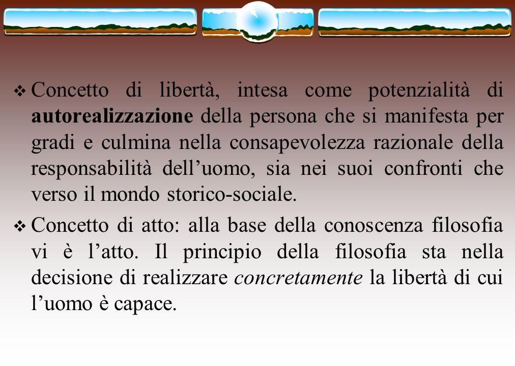 Concetto di libertà, intesa come potenzialità di autorealizzazione della persona che si manifesta per gradi e culmina nella consapevolezza razionale d