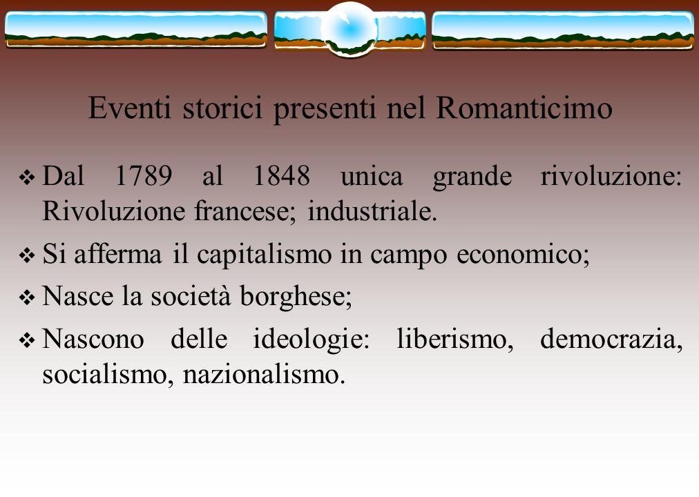 Eventi storici presenti nel Romanticimo Dal 1789 al 1848 unica grande rivoluzione: Rivoluzione francese; industriale. Si afferma il capitalismo in cam