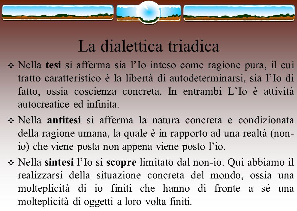 La dialettica triadica Nella tesi si afferma sia lIo inteso come ragione pura, il cui tratto caratteristico è la libertà di autodeterminarsi, sia lIo