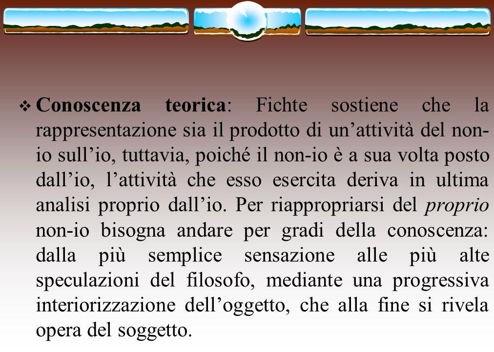 Conoscenza teorica: Fichte sostiene che la rappresentazione sia il prodotto di unattività del non- io sullio, tuttavia, poiché il non-io è a sua volta
