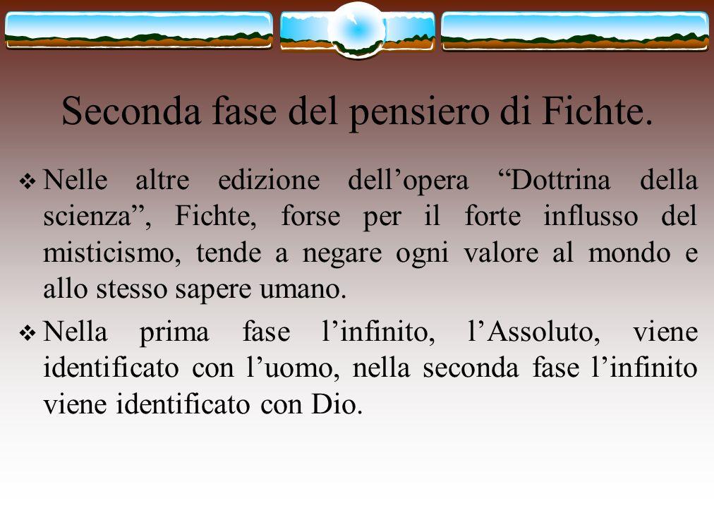 Seconda fase del pensiero di Fichte. Nelle altre edizione dellopera Dottrina della scienza, Fichte, forse per il forte influsso del misticismo, tende