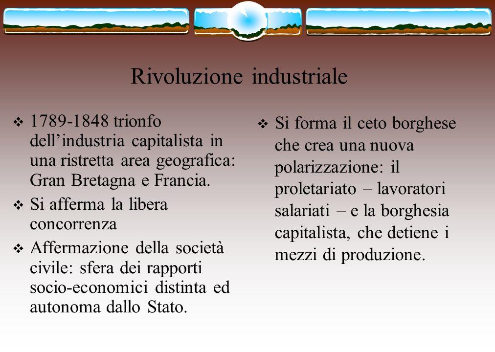 Rivoluzione industriale 1789-1848 trionfo dellindustria capitalista in una ristretta area geografica: Gran Bretagna e Francia. Si afferma la libera co