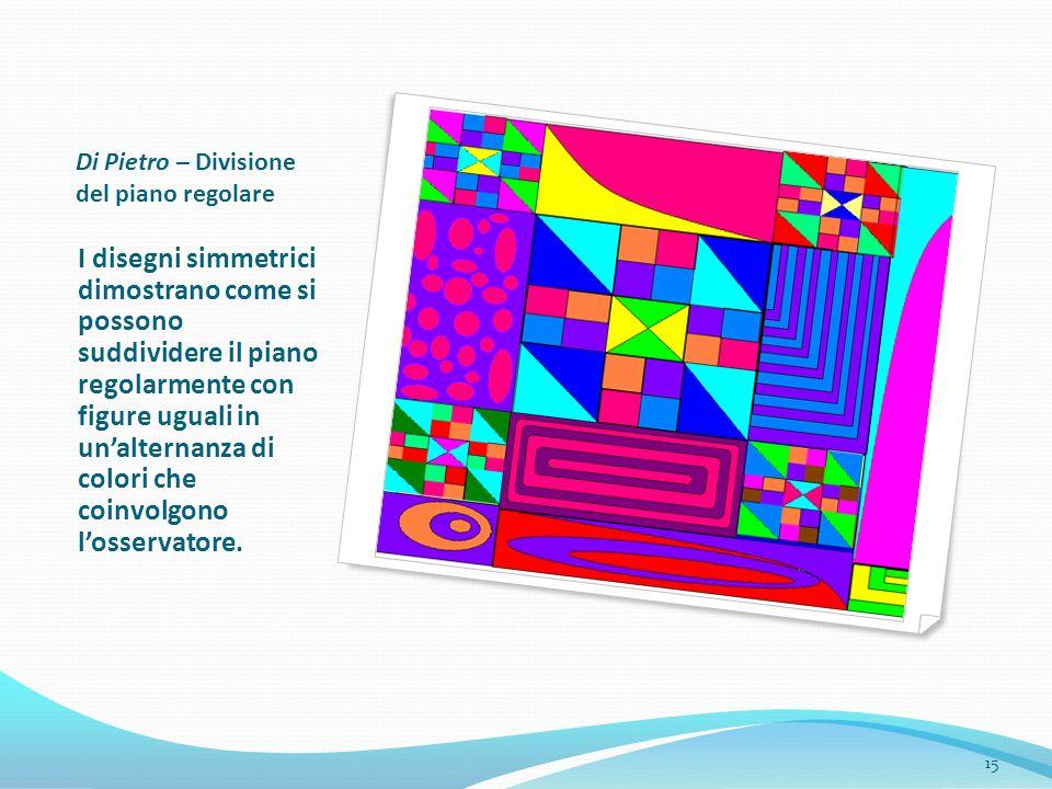 Di Pietro – Divisione del piano regolare I disegni simmetrici dimostrano come si possono suddividere il piano regolarmente con figure uguali in unalte