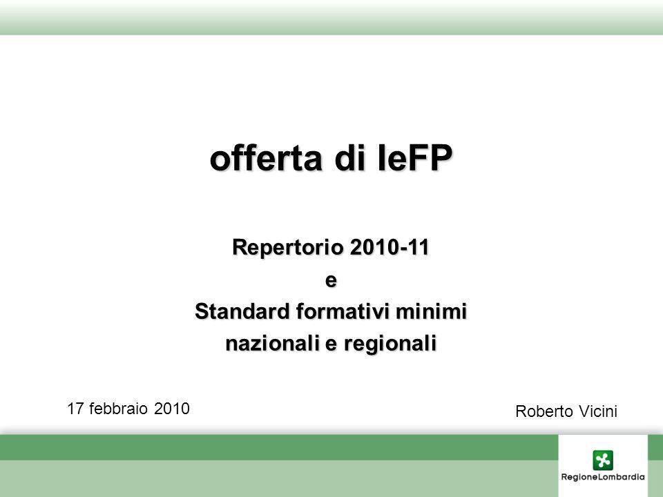 offerta di IeFP Repertorio 2010-11 e Standard formativi minimi nazionali e regionali 17 febbraio 2010 Roberto Vicini