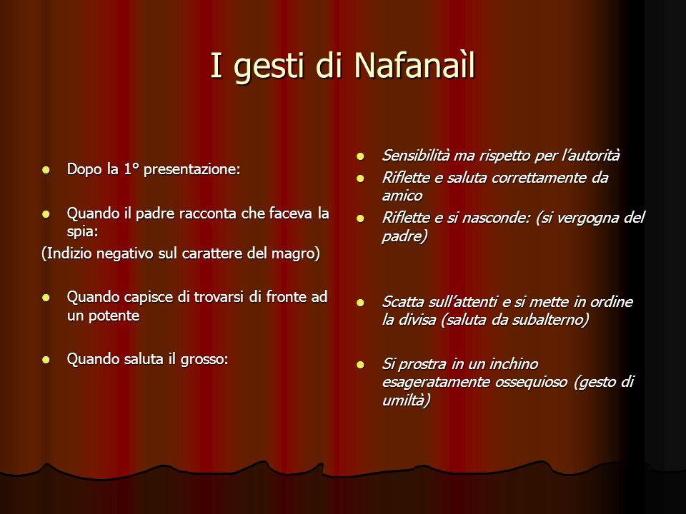 I gesti di Nafanaìl Dopo la 1° presentazione: Dopo la 1° presentazione: Quando il padre racconta che faceva la spia: Quando il padre racconta che face