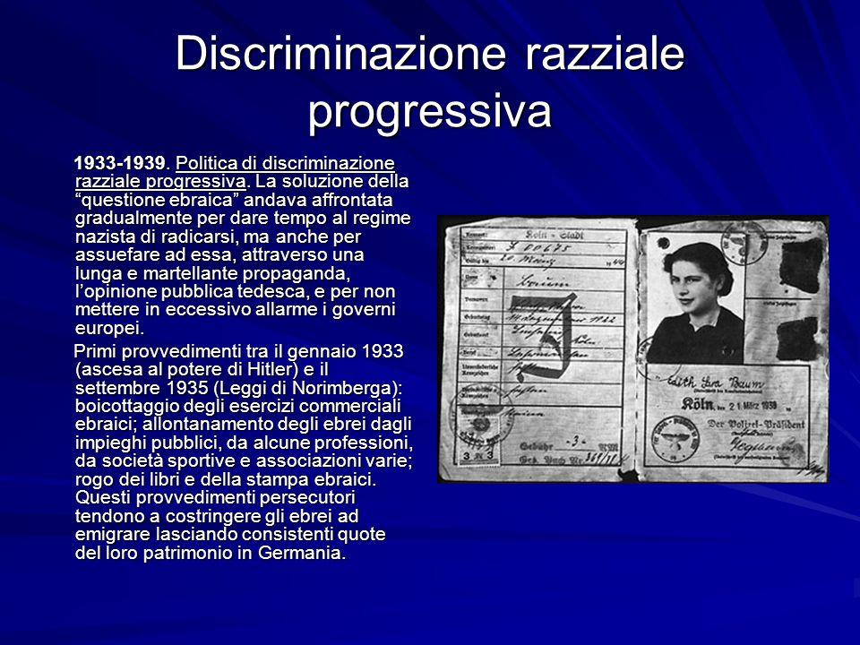 Discriminazione razziale progressiva 1933-1939. Politica di discriminazione razziale progressiva. La soluzione della questione ebraica andava affronta